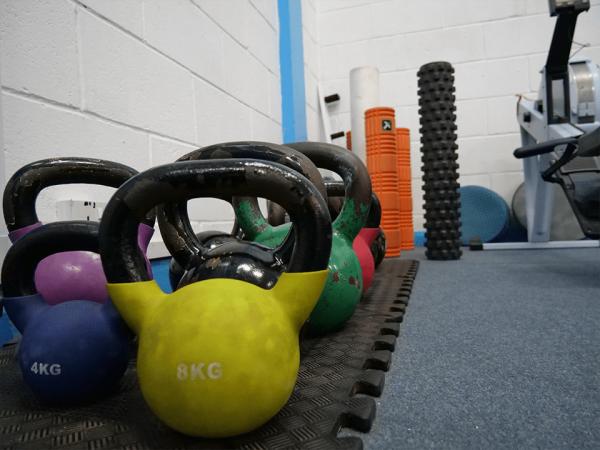 Colourful kettlebells at Vida Health and Fitness