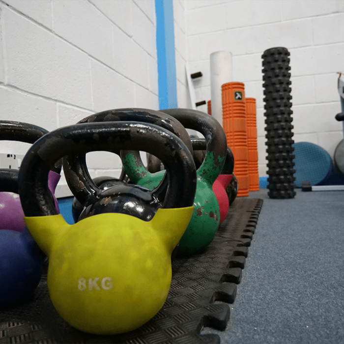 Colourful kettlebells at Vida Health and Fitness
