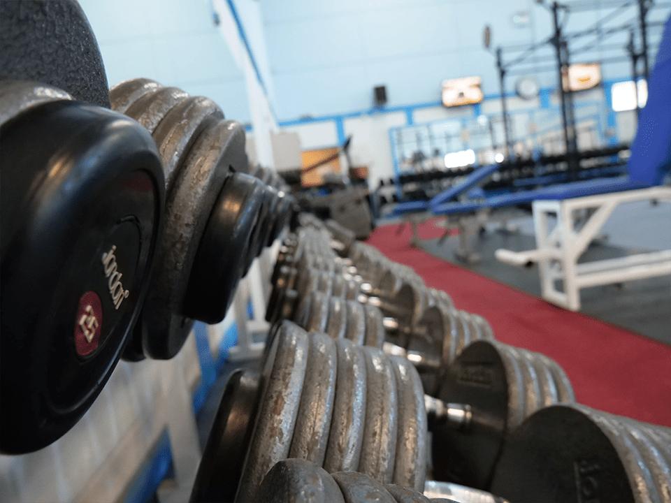 Jordan dumbells at Vida Health and Fitness