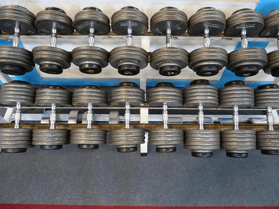 Oldschool free dumbells at Vida Health and Fitness
